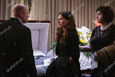 Domenick Lombardozzi as George, Kathryn Hahn as Eve Fletcher and Katie Kershaw as Amanda Olney