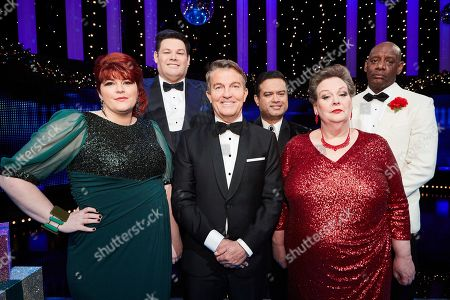 Stock Image of (L-R) 'The Vixen' Jenny Ryan, 'The Beast' Mark Labbett, Host Bradley Walsh, 'The Sinnerman' Paul Sinha, 'The Governess' Anne Hegerty and 'The Barrister' Shaun Wallace