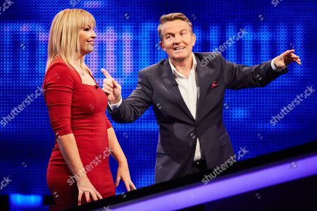 Kate Thornton and host Bradley Walsh facing The Chaser