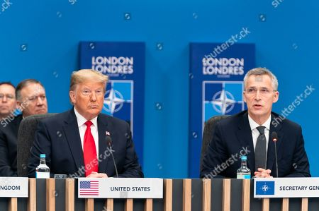 President Donald Trump attends the North Atlantic Treaty Organization plenary session with NATO Secretary General Jens Stoltenberg