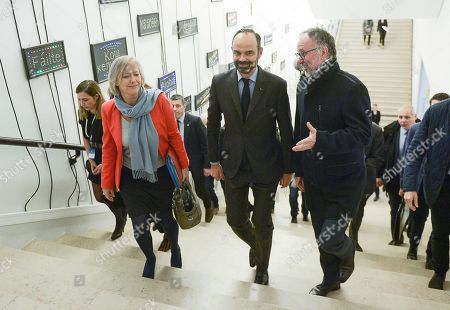 Stock Picture of Sophie Cluzel, Secretary of State for the disabled and Prime Minister Edouard Philippe