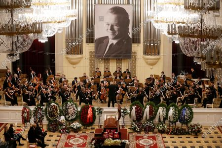 Musicians of the orchestra perform during a farewell ceremony to Latvian-born conductor Mariss Jansons in Grand Hall of Philharmonic in St. Petersburg, Russia, 05 December 2019. Reports on 01 December 2019 state Mariss Jansons has died on 30 December 2019 aged 76 of a heart failure. Jansons worked for leading concert houses, including Vienna Philharmonic, Bavarian Radio Symphony Orchestra, the Amsterdam Royal Concertgebouw Orchestra, Pittsburgh Symphony Orchestra and others.
