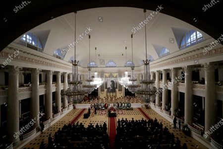People attend a farewell ceremony to Latvian-born conductor Mariss Jansons in Grand Hall of Philharmonic in St. Petersburg, Russia, 05 December 2019. Reports on 01 December 2019 state Mariss Jansons has died on 30 December 2019 aged 76 of a heart failure. Jansons worked for leading concert houses, including Vienna Philharmonic, Bavarian Radio Symphony Orchestra, the Amsterdam Royal Concertgebouw Orchestra, Pittsburgh Symphony Orchestra and others.