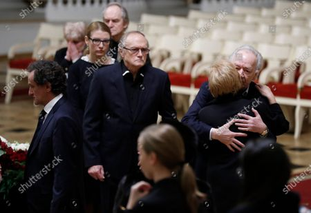 Russian conductor Yuri Temirkanov (R) condolences to relatives during a farewell ceremony to Latvian-born conductor Mariss Jansons in Grand Hall of Philharmonic in St. Petersburg, Russia, 05 December 2019. Reports on 01 December 2019 state Mariss Jansons has died on 30 December 2019 aged 76 of a heart failure. Jansons worked for leading concert houses, including Vienna Philharmonic, Bavarian Radio Symphony Orchestra, the Amsterdam Royal Concertgebouw Orchestra, Pittsburgh Symphony Orchestra and others.