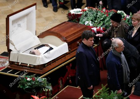 Russian pianist Denis Matsuev (C) condolences to relatives during a farewell ceremony to Latvian-born conductor Mariss Jansons in Grand Hall of Philharmonic in St. Petersburg, Russia, 05 December 2019. Reports on 01 December 2019 state Mariss Jansons has died on 30 December 2019 aged 76 of a heart failure. Jansons worked for leading concert houses, including Vienna Philharmonic, Bavarian Radio Symphony Orchestra, the Amsterdam Royal Concertgebouw Orchestra, Pittsburgh Symphony Orchestra and others.