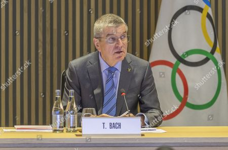Thomas Bach, President of the International Olympic Committee (IOC), speaking at a meeting of the Executive Committee at the IOC headquarters in Lausanne, the main theme of the meeting is the Russian problem of doping and the decision of the World Anti-Doping Agency (WADA)