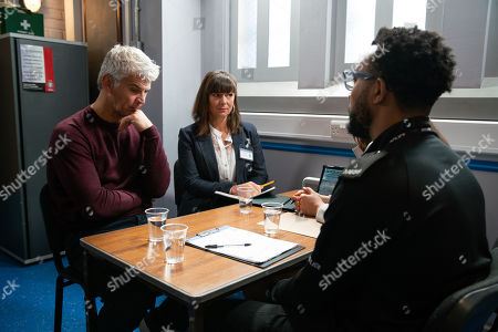 Ep 9950 & 9951 Friday 13th December 2019  The police arrest Robert Preston, as played by Tristan Gemmill, on suspicion of assault. Robert informs them that the last time he saw Vicky they rowed and she threw a vase at the wall but the police reveal they found blood on a fragment on the vase and they also found a second fragment of the vase in his van. Robert's horrified as the police officer confirms that the blood found on the fragments of vase is that of Vicky Jefferies and demands to know how it got there.