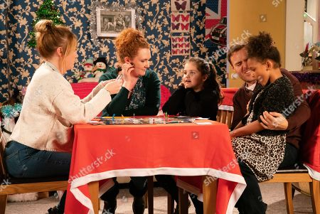 Ep 9964 Friday 27th December 2019  Fiz Stape, as played by Jennie McAlpine, Tyrone Dobbs, as played by Alan Halsall, Jade, as played by Lottie Henshaw, Hope, as played by Isabella Flanagan, and Ruby Dobbs, as played by Macey Albai, enjoy a game of Cluedo but when Hope links the gun in the game to the gun she saw Mummy give to Gary, a mortified Fiz confesses to Tyrone and Jade how she bought a gun for the shop and it was then stolen. Jade revels in her misery.