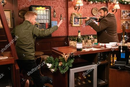 Ep 9961 & 9962 Christmas Day 2019 - Wed 25th Dec 2019 Following Gary Windass, as played by Mikey North, into the pub a worse-for-wear Derek Milligan, as played by Craige Els, lurches in looking for him, pulling out a gun and firing his first shot. As he points the gun at Gary, he runs from the pub and Derek gives chase into the Winter Wonderland