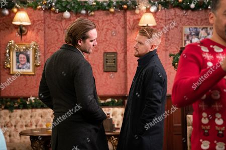 Stock Image of Ep 9960 Tuesday 24th December 2019 In the Rovers, a drunk Ali Neeson, as played by James Burrows, vows to win back Maria and see Gary Windass, as played by Mikey North, get his comeuppance.