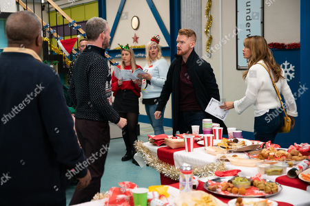 Ep 9958 Monday 23rd December 2019 - 1st Ep Nick Tilsley, as played by Ben Price, and Sarah Platt, as played by Tina O'Brien, unveil the refurbished factory to the staff, keeping quiet about Derek's change of heart. Gary Windass, as played by Mikey North, turns up with Maria Connor, as played by Samia Longchambon, irritating Sarah, and Adam Barlow lets slip to Nick how Gary once got rough with Sarah.