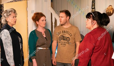 Ep 9973 Monday 6th January 2020 - 2nd Ep The social worker quizzes Fiz Stape, as played by Jennie McAlpine, Tyrone Dobbs, as played by Alan Halsall, and Evelyn Pumber, as played by Maureen Lipman, about Hope's injuries, pointing out that their version of events doesn't match that of Hope's.