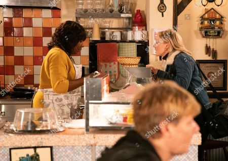 Ep 9974 Wednesday 8th January 2020 - 1st Ep When Suki, a Gazette reporter calls in the cafe, Aggie Bailey, as played by Lorna Laidlaw, touched to discover James Bailey, as played by Nathan Graham, has recommended her for a Golden Hearts award for her efforts on the Christmas Day shooting.