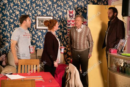 Ep 9975 Wednesday 8th January 2020 - 2nd Ep The police call at No.9 and take Fiz Stape, as played by Jennie McAlpine, and Tyrone Dobbs, as played by Alan Halsall, in for questioning about the gun used in the shooting. With Roy Cropper, as played by David Neilson.
