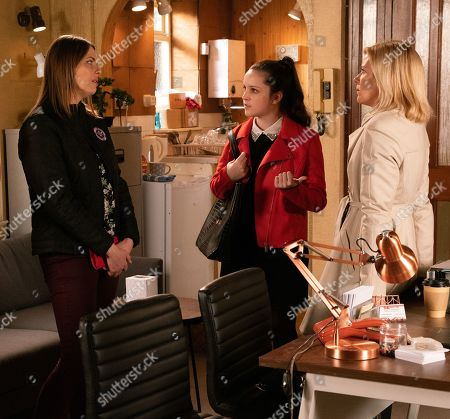 Ep 9975 Wednesday 8th January 2020 - 2nd Ep As a deeply embarrassed Tracy Barlow, as played by Kate Ford, explains to Leanne Tilsey, as played by Jane Danson, that her night of passion was a one-off mistake which they both regret, Amy Barlow, as played by Elle Mulvaney, arrives. Horrified to realise that Leanne now knows about her Mum's indiscretion, Amy turns on her heel and hurries out.