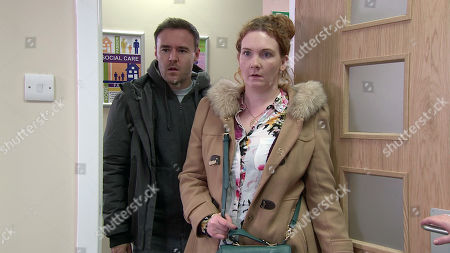 Ep 9974 Wednesday 8th January 2020 - 1st Ep The social worker calls and tells Fiz Stape, as played by Jennie McAlpine, that Hope has a half-sister who has offered to take care of the girls. Fiz and Tyrone Dobbs, as played by Alan Halsall, reel in shock to discover her half-sister is Jade.
