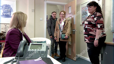 Ep 9974 Wednesday 8th January 2020 - 1st Ep The social worker calls and tells Fiz Stape, as played by Jennie McAlpine, that Hope has a half-sister who has offered to take care of the girls. Fiz and Tyrone Dobbs, as played by Alan Halsall, reel in shock to discover her half-sister is Jade, as played by Lottie Henshaw.