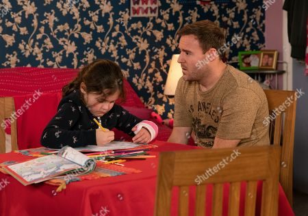 Stock Picture of Ep 9979 Monday 13th January 2020 - 2nd Ep With the girls back Tyrone Dobbs, as played by Alan Halsall, tries to question Hope, as played by Isobella Flanagan, about her injuries and the lies she told about Mummy but Hope remains silent.