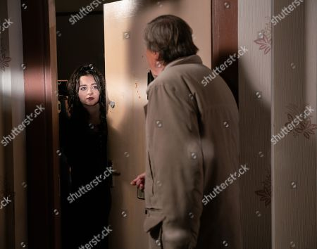 Ep 9978 Monday 13th January 2020 - 1st Ep Having returned from Richard's funeral, Roy Cropper, as played by David Neilson, goes to check up on Nina, as played by Mollie Gallagher, . He's horrified to see her front door splattered with eggs.