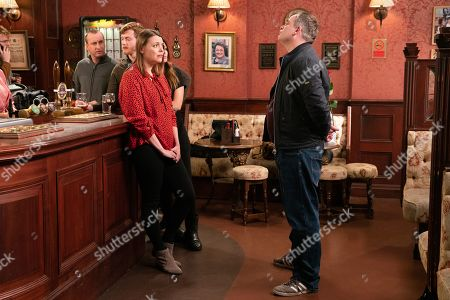 Ep 9979 Monday 13th January 2020 - 2nd Ep In an attempt to rebuild their marriage, Steve McDonald, as played by Simon Gregson, gets down on one knee and asks Tracy McDonald, as played by Kate Ford, to re-marry him.