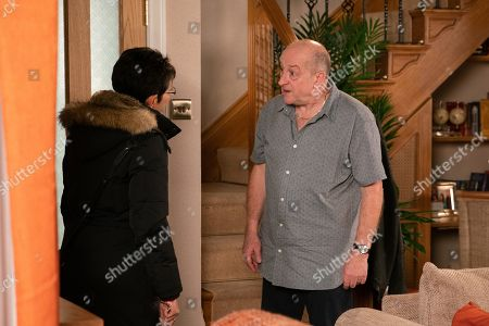 Ep 9979 Monday 13th January 2020 - 2nd Ep As Geoff Metcalfe, as played by Ian Bartholomew, and Yasmeen Nazir, as played by Shelley King, row about her cleaning efforts a tussle ensues over the vacuum and Geoff falls and hits his face on a table. Mortified, Yasmeen goes to fetch some ice. When Cathy Matthews returns to collect her bag, Geoff is unaware and launches into another tirade of abuse. Grabbing her bag, a shocked Cathy hurries out.