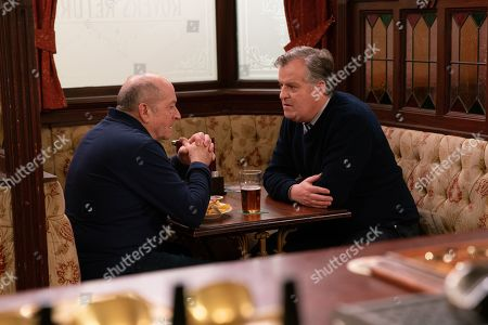 Ep 9980 Wednesday 15th January 2020 - 1st Ep When Brian Packham, as played by Peter Gunn, expresses his concerns for Yasmeen to Geoff Metcalfe, as played by Ian Bartholomew, he's quietly seething and makes out that Yasmeen is actually an alcoholic and he's trying to help. Brian's stunned and when he assumes that Yasmeen gave Geoff his black eye, Geoff doesn't correct him.