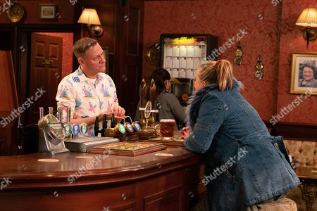 Ep 9981 Wednesday 15th January 2020 - 2nd Ep Bernie Winter, as played by Jane Hazlegrove, confides in Sean Tully, as played by Antony Cotton, how she's been posing as a 14 year old boy online and has arranged to meet up with Kel in order to get justice for Paul. Sean's horrified and urges her to go to the police.