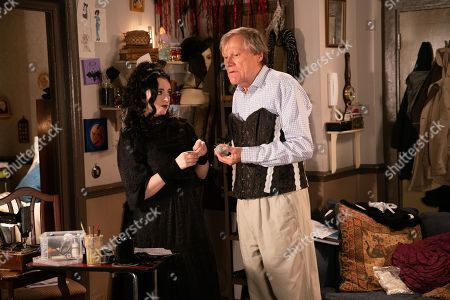 Ep 9980 Wednesday 15th January 2020 - 1st Ep When Roy Cropper, as played by David Neilson, finds Nina, as played by Mollie Gallagher, fretting over her coursework because her sewing machine has conked out he returns with Hayley's old machine. Nina's touched and asks him to stay and be her model. As she makes adjustments to the corset Roy chats about Hayley and the difficulties she encountered as trans gender, Nina warms to him.