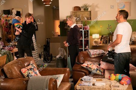 Stock Image of Ep 9946 & 9947 Monday 9th December 2019  Ken Barlow, as played by William Roache, Peter Barlow, as played by Chris Gascoyne, and Adam Barlow, as played by Sam Robertson, clean Daniel Osbourne's, as played by Rob Mallard, flat when they find it littered with bottles and Sinead's face on the TV screen. When Daniel returns home he ushers them out, adamant he'd rather be on his own with Bertie.