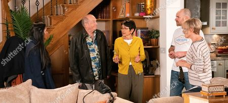 Stock Picture of Ep 9946 & 9947 Monday 9th December 2019  Geoff Metcalfe, as played by Ian Bartholomew, gleefully reveals that he married Yasmeen Nazir, as played by Shelley King, whilst they were away. Whilst Yasmeen explains to Alya Nazir, as played by Sair Khan, that the wedding was a spur of the moment thing, Tim Metcalfe, as played by Joe Duttine, suggests they should have another ceremony now they're home to make it official. Geoff points out that won't be necessary as their wedding was official, leaving Tim worried. With Sally Metcalfe, as played by Sally Dynevor.