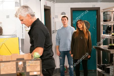 Ep 9948 & 9949 Wednesday 11th December 2019  Flanked by Ryan Connor, as played by Ryan Prescott, and Ali Neeson, Michelle Connor, as played by Kym Marsh, boots a furious Robert Preston, as played by Tristan Gemmill, out of the bistro kitchen pointing out it's no longer his business.