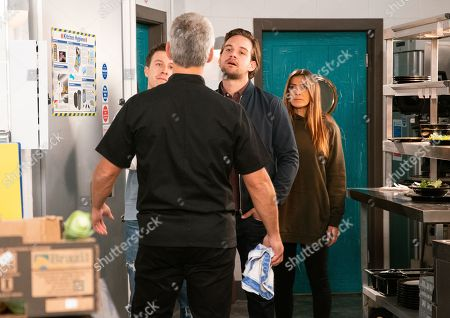 Ep 9948 & 9949 Wednesday 11th December 2019  Flanked by Ryan Connor, as played by Ryan Prescott, and Ali Neeson, as played by James Burrows, Michelle Connor, as played by Kym Marsh, boots a furious Robert Preston, as played by Tristan Gemmill, nout of the bistro kitchen pointing out it's no longer his business.