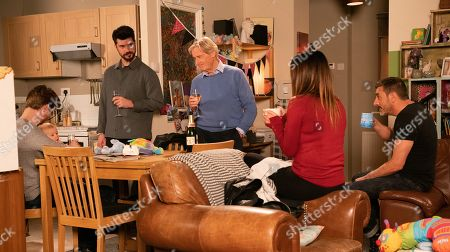 Ep 9967 Tuesday 31st December 2019  The Barlows call at Daniel Osbourne's, as played by Rob Mallard, flat, determined that he and Bertie mustn't spend New Year's Eve on their own. They raise a toast to Sinead and Daniel's touched. With Ken Barlow, as played by William Roache, Peter Barlow, as played by Chris Gascoyne, Tracy McDonald, as played by Kate Ford, and Adam Barlow, as played by Sam Robertson.
