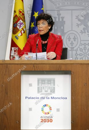 Acting Spanish Government Spokeswoman, Isabel Celaa, addresses a press conference after the weekly Spanish Cabinet meeting, at La Moncloa Palace, in Madrid, Spain, 05 December 2019.
