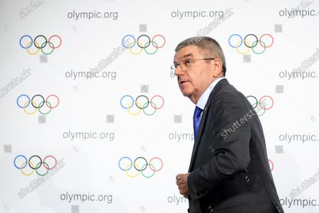 Stock Image of International Olympic Committee (IOC) president Thomas Bach of Germany attends a press conference after the executive board meeting of the IOC at the Olympic House in Lausanne, Switzerland, 05 December 2019.
