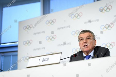 International Olympic Committee (IOC) president Thomas Bach of Germany speaks during a press conference after the executive board meeting of the IOC at the Olympic House in Lausanne, Switzerland, 05 December 2019.