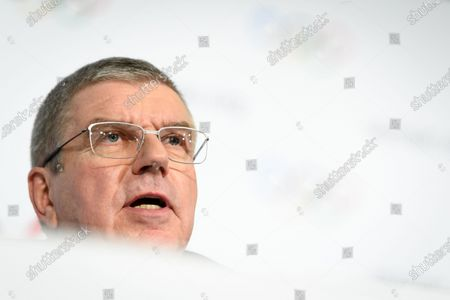 Stock Photo of International Olympic Committee (IOC) president Thomas Bach of Germany speaks during a press conference after the executive board meeting of the IOC at the Olympic House in Lausanne, Switzerland, 05 December 2019.