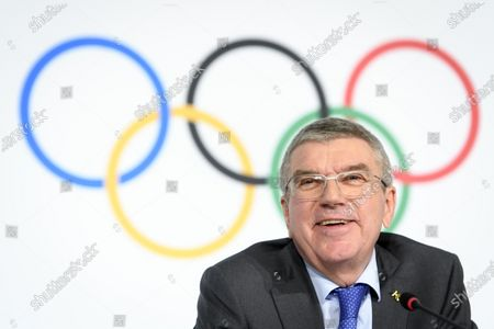 Stock Picture of International Olympic Committee (IOC) president Thomas Bach of Germany speaks during a press conference after the executive board meeting of the IOC at the Olympic House in Lausanne, Switzerland, 05 December 2019.