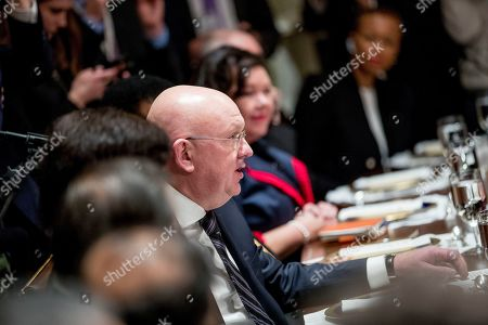Stock Image of Russian Ambassador to the United Nations Vasily Nebenzya speaks at a luncheon with President Donald Trump and other members of the United Nations Security Council in the Cabinet Room at the White House in Washington