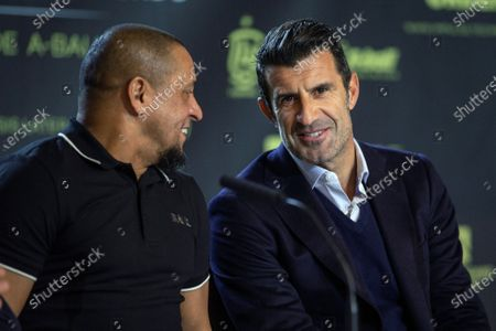 Former Real Madrid's players Roberto Carlos (L) and Luis Figo (R) attend a press conference during the presentation of the charity soccer match between the Spanish national soccer team Legends against GoldStandard World Stars at Wanda Metropolitano stadium in Madrid, Spain, 05 December 2019. The match will be held on 21 December 2019 at Wanda Metropolitano stadium.