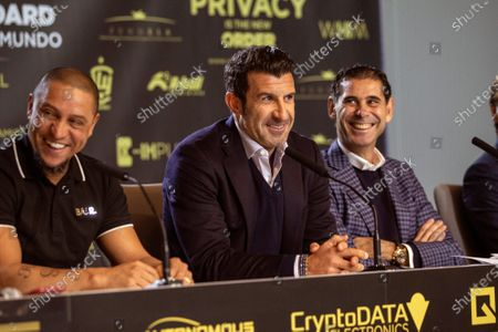 Former Real Madrid's players Roberto Carlos (L), Luis Figo (C) and Fernando Hierro (R) attend a press conference during the presentation of the charity soccer match between the Spanish national soccer team Legends against GoldStandard World Stars at Wanda Metropolitano stadium in Madrid, Spain, 05 December 2019. The match will be held on 21 December 2019 at Wanda Metropolitano stadium.