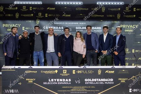 Former soccer players Roberto Carlos (2-L), Albert Luque (3-L), Luis Figo (C), Fernando Hierro (3-R) and Fernando Morientes (2-R) attend a press conference during the presentation of the charity soccer match between the Spanish national soccer team Legends against GoldStandard World Stars at Wanda Metropolitano stadium in Madrid, Spain, 05 December 2019. The match will be held on 21 December 2019 at Wanda Metropolitano stadium.