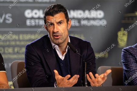 Stock Image of Former Real Madrid's player Luis Figo attends a press conference during the presentation of the charity soccer match between the Spanish national soccer team Legends against GoldStandard World Stars at Wanda Metropolitano stadium in Madrid, Spain, 05 December 2019. The match will be held on 21 December 2019 at Wanda Metropolitano stadium.