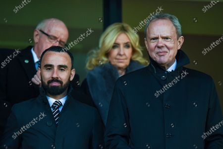8th December 2019, The Hawthorns, West Bromwich, England; Sky Bet Championship, West Bromwich Albion v Swansea City : Trevor Birch (right) and Leon Britton (left) in the Directors box at the HawthornsCredit: Gareth Dalley/News Images