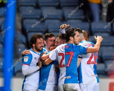 7th December 2019, Ewood Park, Blackburn, England; Sky Bet Championship, Blackburn Rovers v Derby County : The Blackburn Rovers players celebrate with Adam Armstrong (7) after his goal makes the score 1-0Credit: Simon Whitehead/News Images