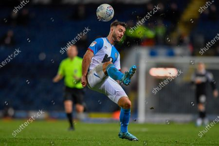7th December 2019, Ewood Park, Blackburn, England; Sky Bet Championship, Blackburn Rovers v Derby County : Adam Armstrong (7) of Blackburn Rovers flicks the ball over his headCredit: Simon Whitehead/News Images