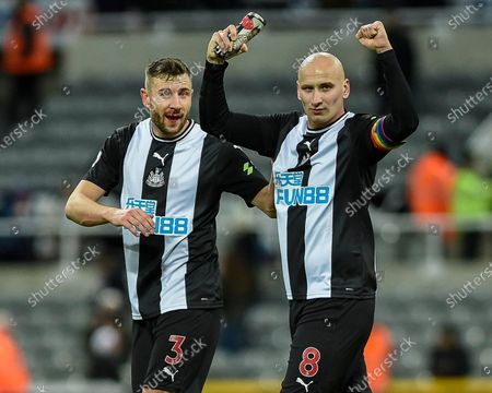 8th December 2019, St. James's Park, Newcastle, England; Premier League, Newcastle United v Southampton : Jonjo Shelvey (8) of Newcastle United pumps his arms in celebration at full-time with Paul Dummett (3) of Newcastle United