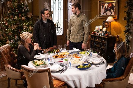 Stock Picture of Ep 8685 & 8686 Wed 25 Dec 2019 - Christmas Day 2019  Just as Christmas Dinner is being served up at Home Farm, Graham Foster, as played by Andrew Scarborough, bursts in, leaving Andrea Tate, as played by Anna Nightingale, and Kim Tate, as played by Claire King, fearful of what he might do or say. Also pictured Jamie Tate, as played by Alexander Lincoln.