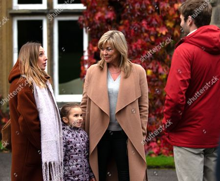 Ep 8671 Monday 9th December 2019 Kim Tate, as played by Claire King, packs Jamie Tate, as played by Alexander Lincoln, Andrea Tate, as played by Anna Nightingale, and Mille Tate, as played by Willow Bell, off to Lapland.