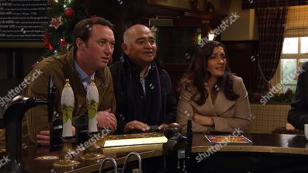 Ep 8671 Monday 9th December 2019 Bob Hope has an idea to put on a village Panto. With Liam Cavanagh, as played by Jonny McPherson, Rishi Sharma, as played by Bhasker Patel, Manpreet, as played by Rebecca Sarker.
